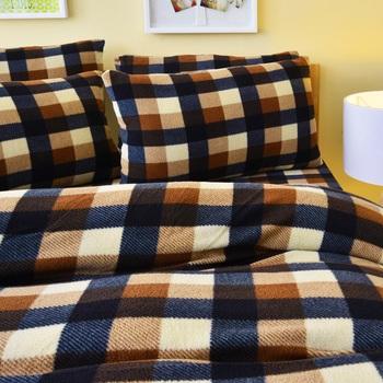 Pure One 超保暖搖粒絨-簡約格紋-咖啡-雙人四件式床包被套組