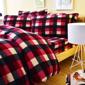 Pure One 超保暖搖粒絨-簡約格紋-黑紅-雙人四件式床包被套組