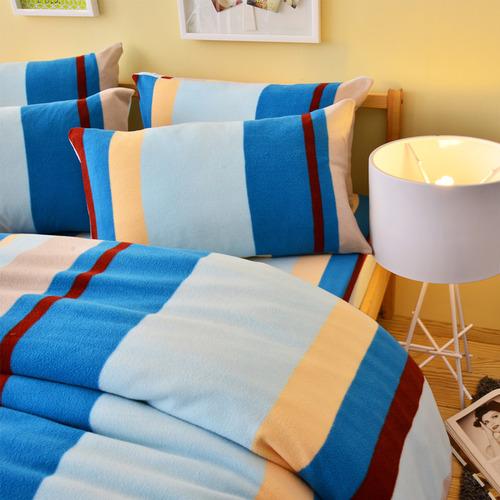 Pure One 超保暖搖粒絨-北歐條紋-藍-加大四件式床包被套組