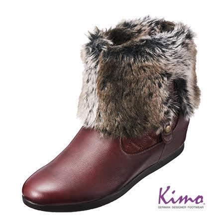 【Kimo德國品牌手工氣墊鞋】禦寒時尚格紋短靴‧牛皮‧兔毛(醇酒紅K15WF034257)