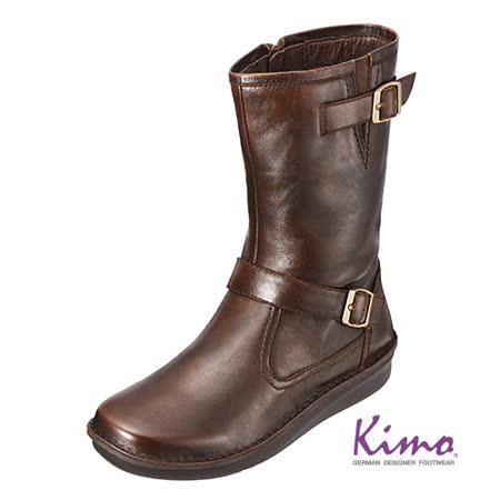 【Kimo德國品牌手工氣墊鞋】義大利真皮中筒靴‧ 義大利‧真皮‧手縫(咖啡色_K15WF049218A)