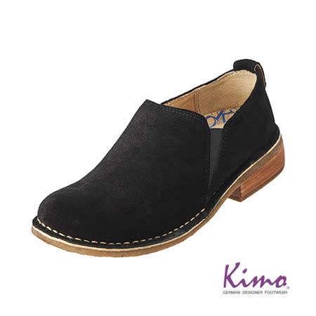 【Kimo德國品牌手工氣墊鞋】真皮質感反毛踝靴‧牛皮‧膠底‧踝靴(個性黑K15WF082013)