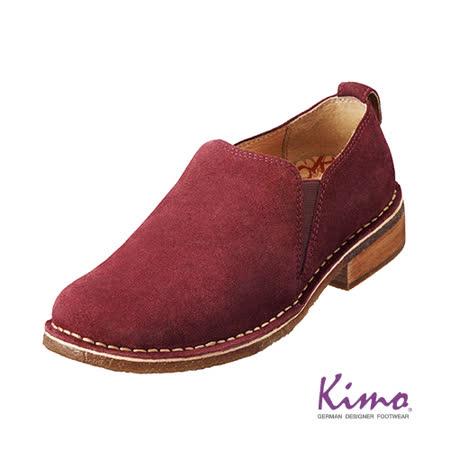 【Kimo德國品牌手工氣墊鞋】真皮質感反毛踝靴‧牛皮‧膠底‧踝靴(熱情紅K15WF082017)