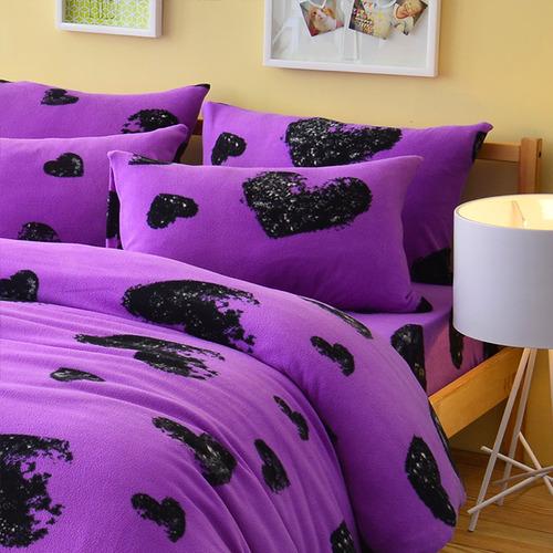 Pure One 超保暖搖粒絨-愛戀惡魔-紫-加大四件式床包被套組