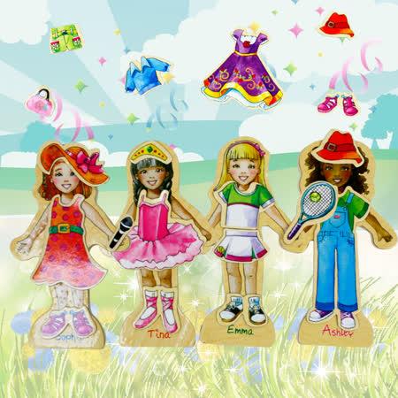 【funKids】女孩變裝秀磁性益智玩具63PCS含小車收納盒(玩樂生活款)