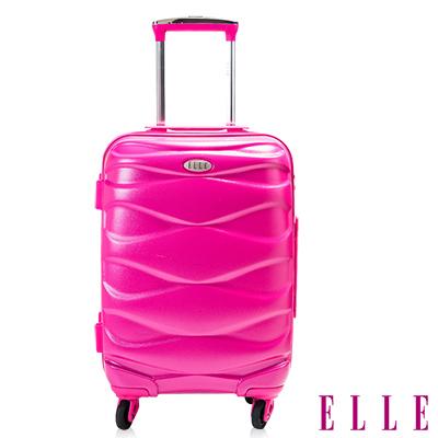 ELLE 法式 水波紋流線曲線19吋純PC100^%防刮行李箱~桃粉EL3115619~6