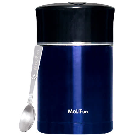 MoliFun魔力坊 不鏽鋼真空專利附內碗保鮮保溫悶燒罐/便當盒1800ml-皇家藍