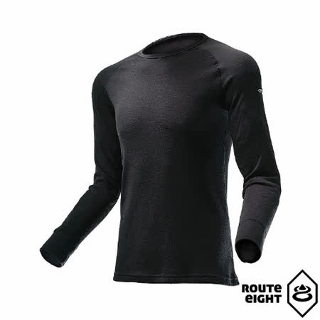 Route8 男 WARM 圓領保暖衣(黑色)