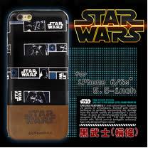 電影授權正版 STAR WARS 星際大戰 iPhone 6/6s plus i6s+ 5.5吋 雙料皮革手機殼(黑武士橫條)