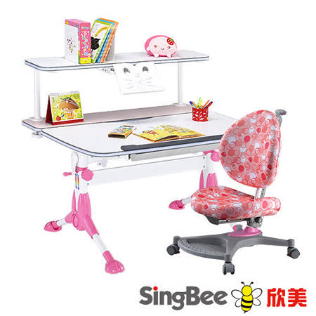 【SingBee欣美】小哈佛書桌+皇家上層書架+136成長椅