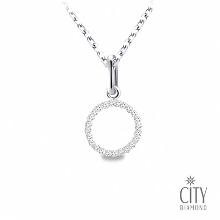 City Diamond引雅 巴塞隆納定情曲-K金晶鑽墜(圓型)