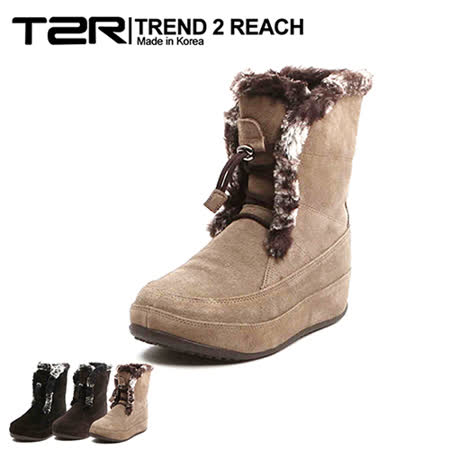 【韓國T2R】奢華毛邊麂皮綁帶款內增高短靴 ↑6cm 卡其(5500-0736)