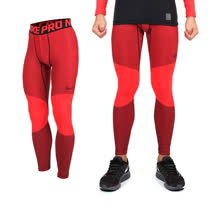 (男) NIKE 彈力緊身長褲-慢跑 路跑 刷毛 條紋紅黑