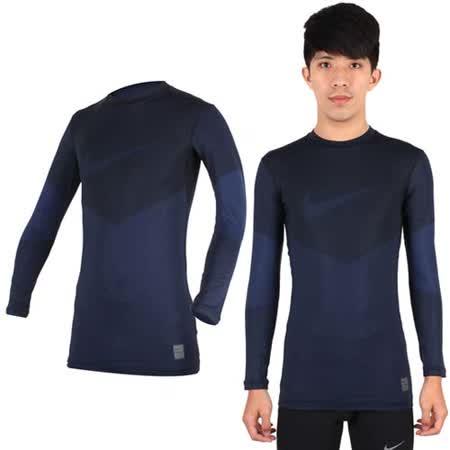 (男) NIKE PRO COMBAT 長袖針織衫-長袖緊身衣 慢跑 路跑 條紋丈青