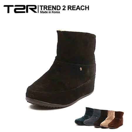 【韓國T2R】麂皮毛絨裏反摺款內增高短靴 ↑6cm 黑(5500-0749)
