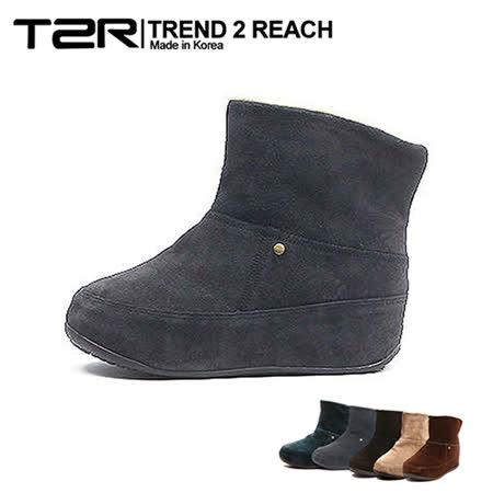【韓國T2R】麂皮毛絨裏反摺款內增高短靴 ↑6cm 灰(5500-0750)