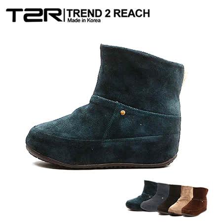 【韓國T2R】麂皮毛絨裏反摺款內增高短靴 ↑6cm 藍(5500-0751)