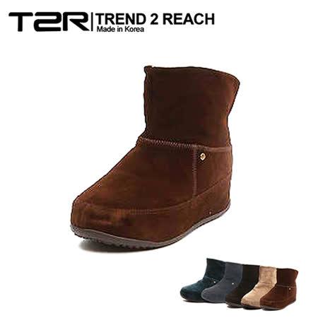 【韓國T2R】麂皮毛絨裏反摺款內增高短靴 ↑6cm 咖(5500-0752)