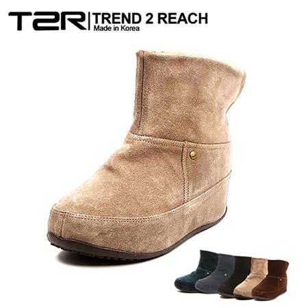 【韓國T2R】麂皮毛絨裏反摺款內增高短靴 ↑6cm 卡其(5500-0753)
