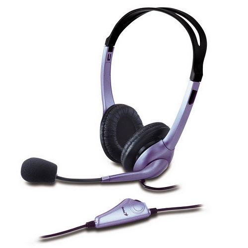Genius HS-04S 炫亮紫頭戴式耳機麥克風