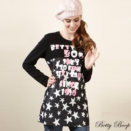 【Betty Boop貝蒂】星星字母大圖拼接棉質上衣(共二色)