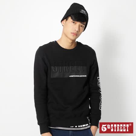 5th STREET 棒球系列立體繡厚T恤-男-黑色