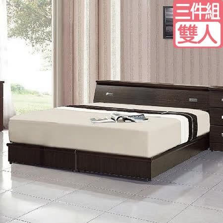 【愛麗娜】藏愛臥室三件組合(床墊+床頭箱+床底) 四色可選
