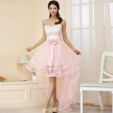 【白色戀人中大尺碼】粉色蕾絲前短後長網紗小禮服