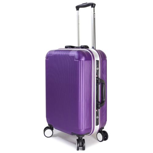 【WALLABY】20吋直條紋ABS永和 愛 買鋁框行李箱/魅力紫(HTX-1503-20P)