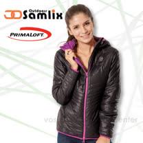 【山力士 SAMLIX】女 Primaloft 輕量保暖外套.休閒外套.雪衣.防風.防潑水_黑 36813