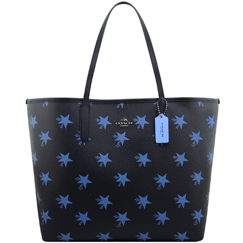 COACH 馬車星星圖樣PVC托特包~藍色~大型~