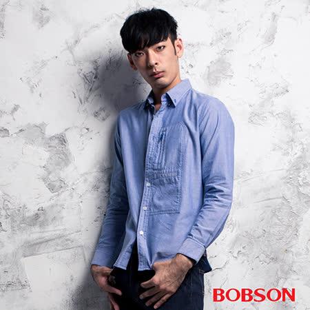 BOBSON 胸開袋素面襯衫(35001-58)
