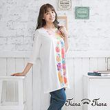 【Tiara Tiara】七分袖彩花春分上衣裙(白/灰)