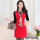 【預購MY-CHIC】韓系 俐落時尚襯衫領配色長袖羊毛呢連身裙2088(2色)