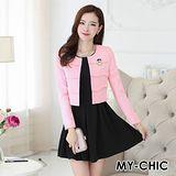 【預購MY-CHIC】韓系 優雅氣質小香風外套+背心裙套裝組5027(2色)