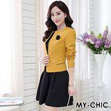 【預購MY-CHIC】韓系 春分時尚完美氣質流線外套+背心裙套裝組(曼士達黃色)
