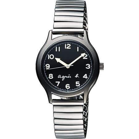 agnes b. 25周年紀念復刻經典腕錶-黑x灰/34mm VJ21-KR00D(BH8018X1)