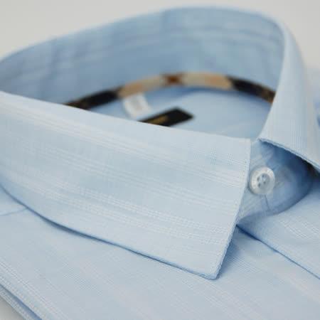 【金安德森】經典格紋繞領藍色暗紋長袖襯衫