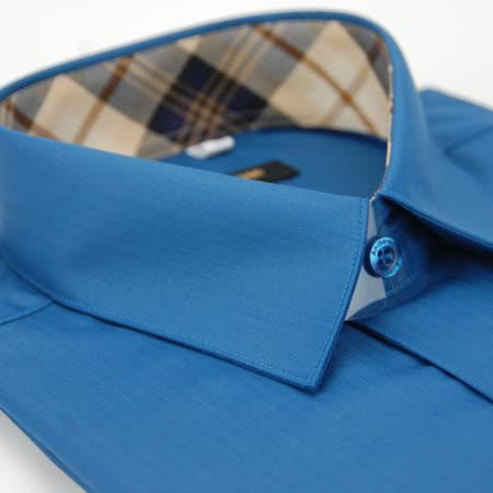 【金安德森】經典格紋繞領藍綠色壓光易整燙窄版長袖襯衫