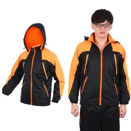 (男) SOFO 連帽搖粒絨外套-防風外套 風衣外套 黑橘