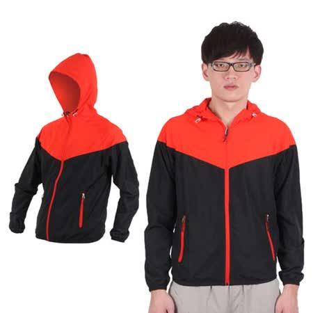 (男) SOFO 連帽風衣外套-防風外套 橘紅黑