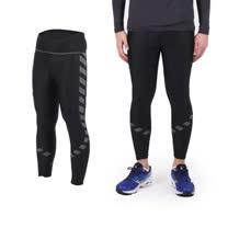 (男女) SOFO 印花彈力緊身長褲-緊身褲 路跑 慢跑 瑜珈 黑銀