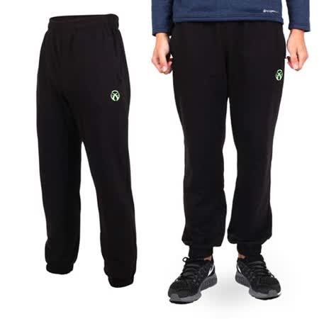 (男) FIRESTAR 棉質針織長褲-棉褲 黑螢光綠