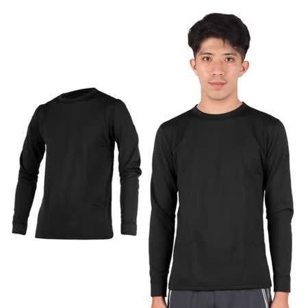 (男) PARABOLA 圓領保暖排汗衣-台灣製 長袖T恤 黑