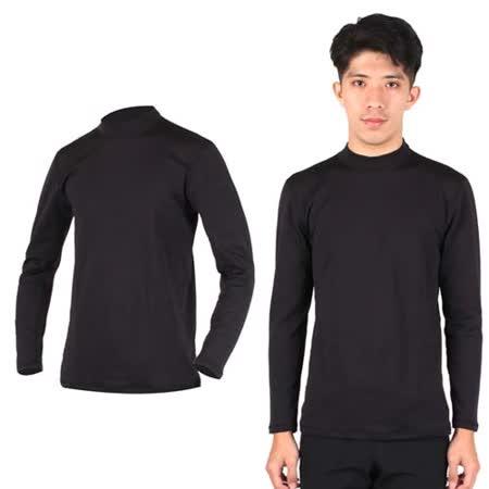 (男) PARABOLA 高領保暖排汗衣-台灣製 長袖T恤 黑