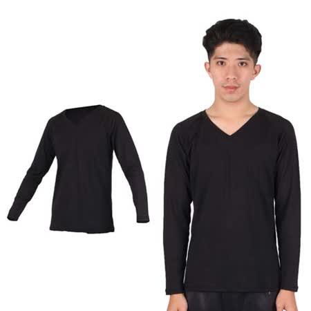 (男) PARABOLA V領保暖排汗衣-台灣製 長袖T恤 黑