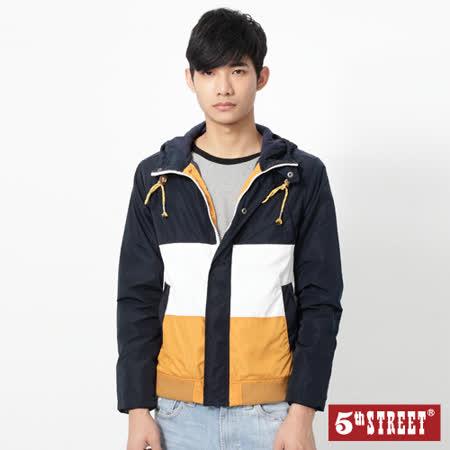 5th STREET 拼色風衣外套-男-桔黃色