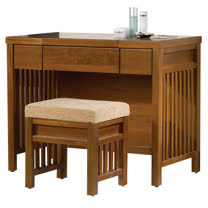 【愛麗娜】Tyrande 3.2尺實木掀式鏡台(附化妝椅)
