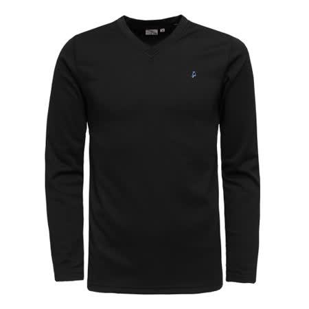 【hilltop山頂鳥】男款TORAY保暖吸濕快乾長袖衛生衣H56M72-黑