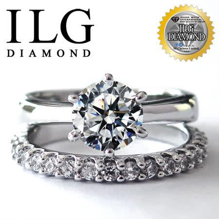 【熱銷萬組ILG鑽】頂級擬真鑽石戒指-RI005六爪一克拉+滿鑽線戒 求婚結婚鑽戒
